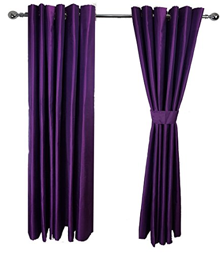 Deep Purple LUXURY PAIR OF FAUX SILK EYELET READY MADE FULLY LINED CURTAINS  + 2 TIE BACKS 66in X 54in (167cm X 137 Cm)ÿ
