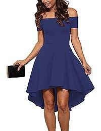409e4b7201d ZJCTUO Damen Kleid Abendkleid Schulterfreies Cocktailkleid Jerseykleid  Skaterkleid Knielang Elegant Festlich Asymmetrisches Partykleid