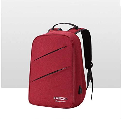 Business einfache Schultertaschen-Modeschöpf-PHP-Taschen-Leinwand Multifunktion USB-Srucksack Männer und Frauen,Red