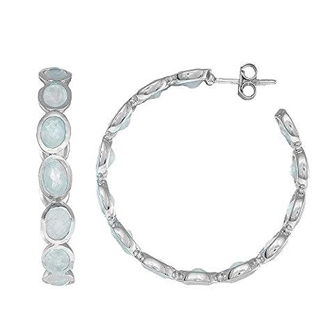 Eternity Boucles d'oreilles créoles style de connecter Pierre de Lune Arc-en-Ciel en argent sterling Finition rhodium