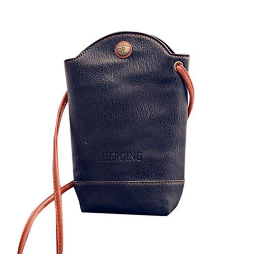 Schultertaschen Damen, Sunday Frauen Messenger Bags Schlank Crossbody Schultertaschen Handtasche Kleine Körper Taschen Kleine Magnetschnalle (11cm*6cm*20cm, Schwarz) (Designer-handtasche Gelbe)