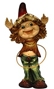 Garden Gnome with Hula Hoop - for Home & Garden - Height 37cm - multi-coloured