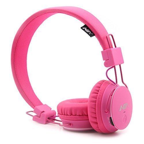 GranVela® X2 Over-Ear-Bluetooth-Kopfhörer, faltbar 4 in 1 Stereo Kinder Kopfhörer-drahtlose freihändige Kopfhörer mit Mikrofon und MicroSD Card Player, Radio, AUX für iPhone, Samsung und mehr (Pink) (Bluetooth-kopfhörer Kinivo)