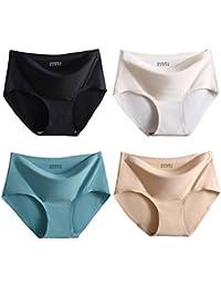 FEOYA Pack de 3/4 Braguita Mujer sin Costuras Ropa Interior Slip Invisible de Cintura