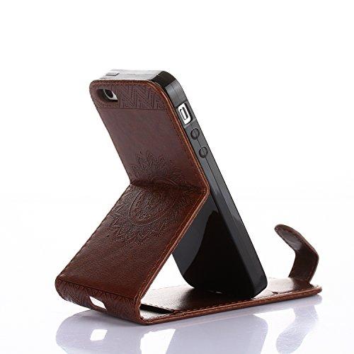 iPhone 55S se pc éclat brillant strass Coque, newstars stéréo papillon Couronne Bling Glitter cristal diamant Transparent Plaqué pare-chocs protection d'écran transparent coque arrière pour iPhone 5/ Mandala Brown