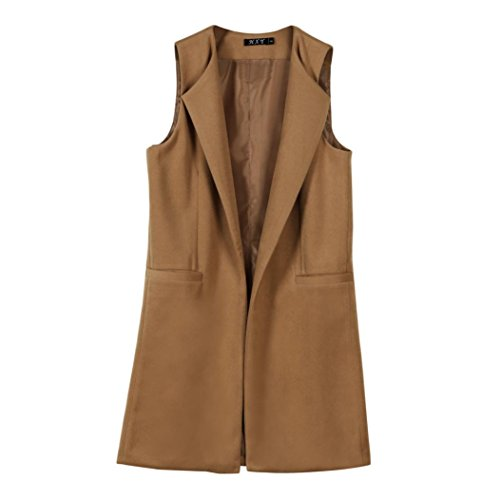 SHOBDW Mujeres sólido chaleco sin mangas chaleco Vest chaqueta abrigo parka outwear Cardigan (marrón, S)
