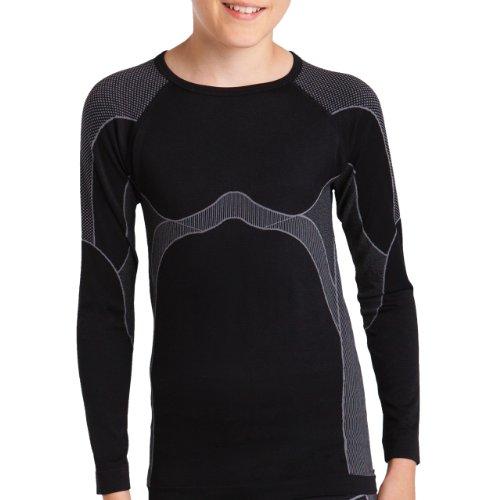 Gomati Langes Kinder Funktions-Hemd Seamless schwarz/grau-158-164 (Farbige Thermo-unterwäsche)