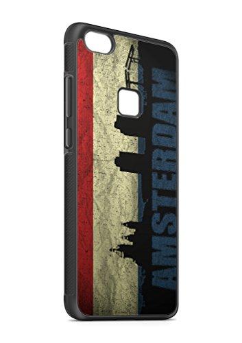 Huawei P10 LITE Holland Amsterdam SILIKON Flipcase Tasche Hülle Case Cover Schutz Handy SCHWARZ