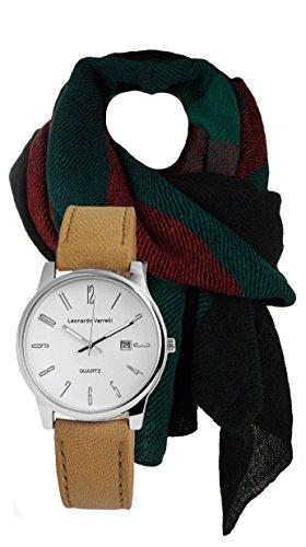Elegante Reloj y bufanda Set de regalo, Exclusive–Reloj de cuarzo Diseño Italiano con bufanda para hombres