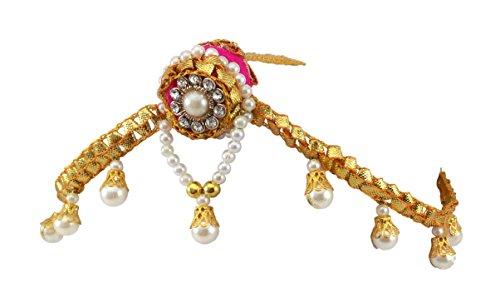 BLENT#63 Pink Gota Patti Flower Jewellery Borla / Tiara / Mathapatti for...