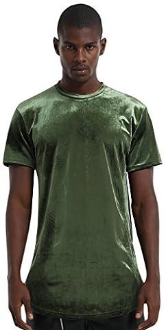 Pizoff Unisex Hip Hop lang geschnittener Samt T-Shirt aus Velours mit seitlichen Reißverschlüssen abgerundeter Saum (Hip Hop Mode Sonnenbrillen)