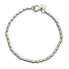 Idea Regalo - Bracciale in argento massiccio 925/1000 con pepite rodiate. Grammi 6