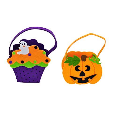 Toyvian Halloween Ghost Pumpkin Candy Bag Süßes oder Saures-Beutel Candy Gift Bag for Kids 2 Pieces
