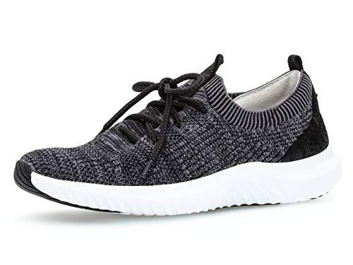 Gabor Damen Slip-On Sneaker 26.980.17, Frauen Sportschuh,Slipper,Schlüpfschuh,Low-Top,Schnellschnürung,Grey/schwarz,37 EU / 4 UK