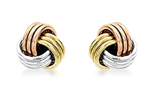 Carissima Gold 9 ct 3 Colour Gold 5 mm Knot Stud Earrings