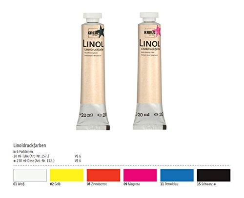 Linoldruckfarbe 6er Set, Farbe für Linoldruck, Linolschnitt Farben