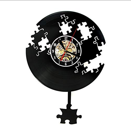 TIANZly Puzzle Vinyl Schallplatte Wanduhr Puzzle Retro Wanduhr Modernes Design Puzzle Set Dekoration Geschenk Raumdekoration