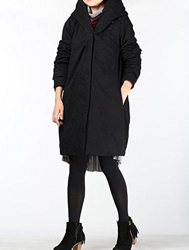 Vogstyle Femmes Manteau A Capuche Hiver Casual Petite Blouson Noir