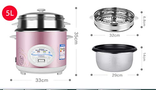 Reiskocher 2L 3L 4L 5L Warmhaltefunktion Premium-Spatel Messbecher Reis für bis zu 15 Personen Weißgold-Innentopf 5L