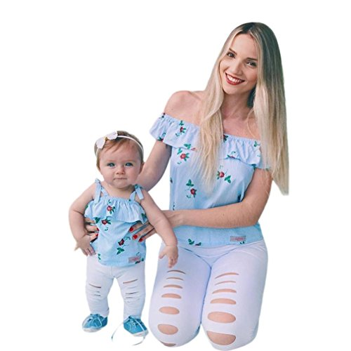 Felicy Mommy and Me Matching Tops, Women and Baby Girls Summer Sleeveless Floral Print Off Shoulder Tops T-Shirt Blouse Ruffles Family Clothes Best Gifts