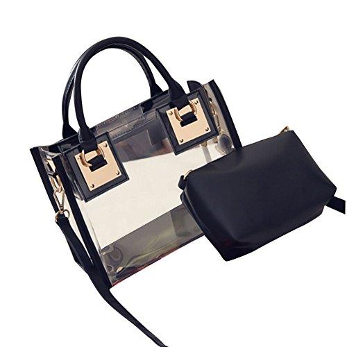 Damen Taschen, KIMODO Mode FüR Frauen Transparente UmhäNgetasche Mit SüßIgkeiten Strand Handtasche Messeng Tasche (Schwarz)