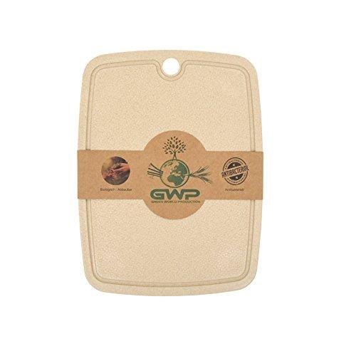 Green World Production I 100% Biologisches Schneidebrett mit Saftrille I Antibakterielles Großes Küchenbrett ideal zum Schneiden, Kochen, Backen I Schneidbrett mit rutschfesten Füßen I Größe 31x23 cm