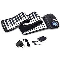 COSTWAY 88 Tasten Roll Up Piano, Roll-Up Keyboard, Klavier faltbar, Rollpiano mit Sustain Pedal, Bluetooth und MIDI Funktion