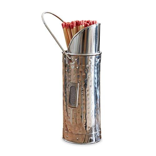 Loberon Streichholzbehälter Grimsby, Edelstahl, H/Ø ca. 20/6,5 cm, Silber