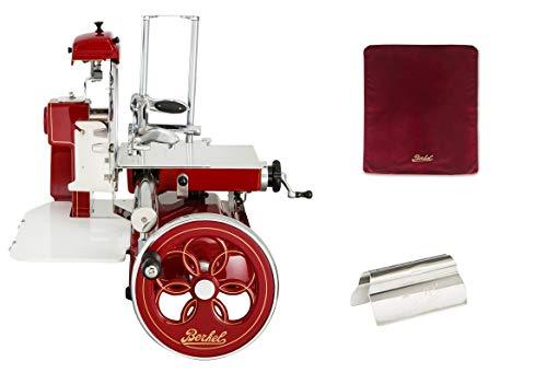 Berkel - Schwungrad B3 - Berkel Rot mit Golddekor - Geblühtes Schwungrad + Roter Slicer Deckel + Schinkenzange