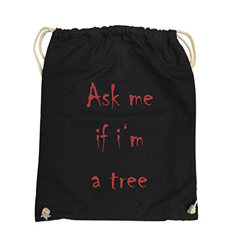 Comedy Bags - Ask me if i'm a tree - Turnbeutel - 37x46cm - Farbe: Schwarz / Pink Schwarz / Rot