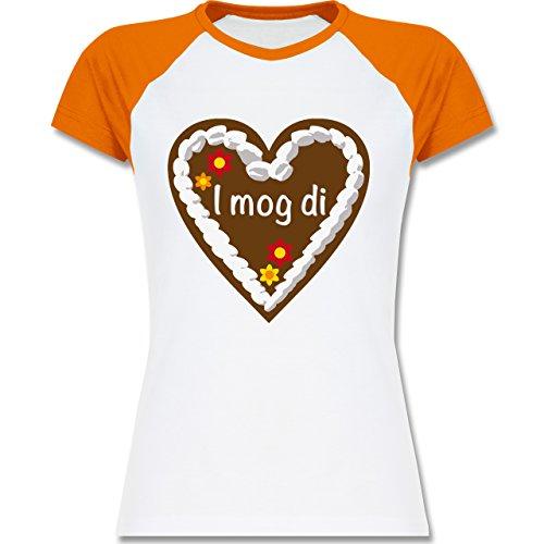 Oktoberfest Damen - Lebkuchenherz I mog di - zweifarbiges Baseballshirt / Raglan T-Shirt für Damen Weiß/Orange