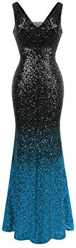 Angel-fashions Damen Pailletten V-Ausschnitt Ballon Gatsby Flapper Abendkleid (S, Schwarzes...