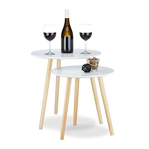 Relaxdays 10020985_49 set 2 tavolini da salotto, stile scandinavo, design anni '70, impilabili, diametro 39 e 47,5 cm, bianco