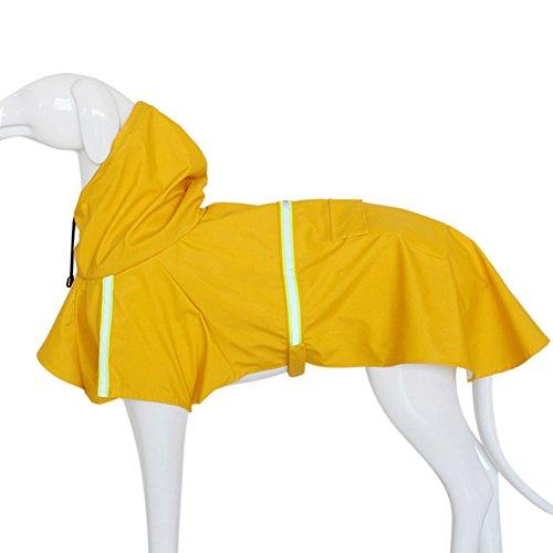 Petcomer Wasserdicht Pet Regenjacken Poncho Leicht Mit Kapuze Regenschutz Jacke reinwear Kleidung mit Reflektierende Band für große Medium Kleine Hund (M Length 11.81'', Gelb)