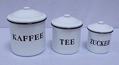 Nostalgie Vorratsdosen 3er Set, Emaille Deckel Dosen, Kaffee, Tee, Zucker