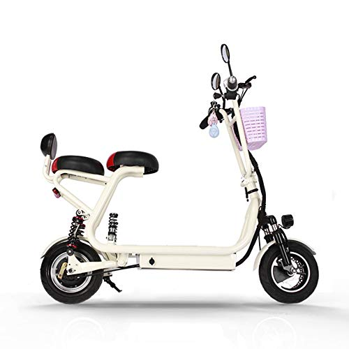 Elektrofahrrad Faltbares E-Bike für Erwachsene, Faltrad Mit kleinem Sitz, Klapprad Pedelec mit Lithium-Akku (500W, 48V 8AH), Ausdauer 30KM,Elektronischer Start/Induktionsalarm, Weiß
