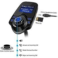 Transmisor FM Bluetooth, DIKI Inalámbrico Transmisor USB Coche Cargador con Reproductor de MP3 Bluetooth con Puerto de 3,5 mm de Entrada/Salida de audio ...