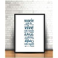 """Cuadro personalizado con frase motivadora"""" sonríe.vive.ama.disfruta"""".Elige tamaño, color del marco Regalo/Bodas/San Valentín/Cumpleaños/Ella/Aniversario/EL"""