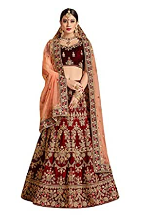 35b0a5787ae Sk Clothing Women s Velvet and Net Bridal Lehenga Choli (Maroon ...