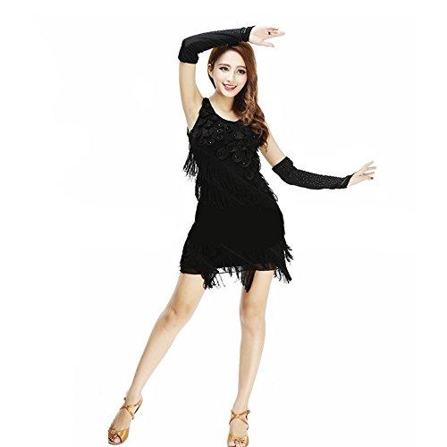 uchtanz Kostüm Für Frauen Quasten Bauchtanz Outfit Rot Schwarz Quasten Latin Dance Kleid Rock Kostüm Body Pailletten Kurzen Rock Leistung Kostüm,Black (Tango Tänzer Halloween Kostüm)
