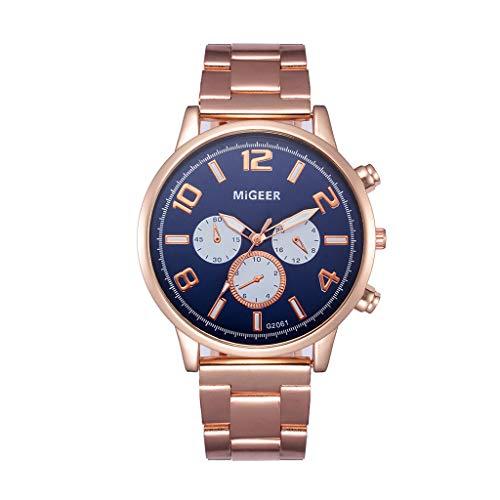 LABIUO Herrenuhren, Fashion Luxury Analog Quartz Crystal Armbanduhren mit Edelstahlarmband(Blau,Einheitsgröße)