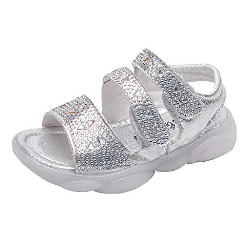 Kinder Kleinkind Mädchen Infant Bequeme Sandalen Glitter Pailletten Rutschfeste Sommer Strand Schuhe Touch befestigen runde Zehe Slip-on Flache Sandalen für 1-6 Jahre alt