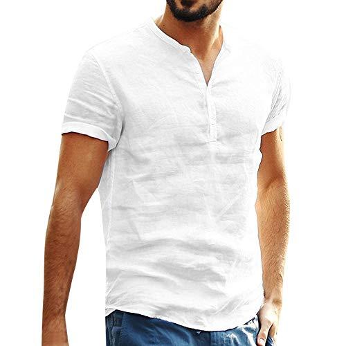 Firally - Camiseta para Hombre de Verano, de Moda, Informal, de algodón y Lino, Color Redondo, Cuello Redondo, Manga Corta, botón Retro en Forma de T Blanco XL