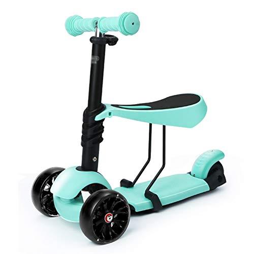 Kinderroller mit 3 Rädern, 2-in-1-Tretroller mit abnehmbarem Sitz und PU-Verschleißrad Ideal für Kinder (Color : Green)