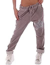 Damen Streetware Baggy Jogging Hose mit Pailletten Stern Besatz Gr. 34 - 40