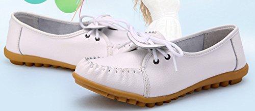 Easemax Femme Mode Talon Plat Lacets Mocassins Blanc