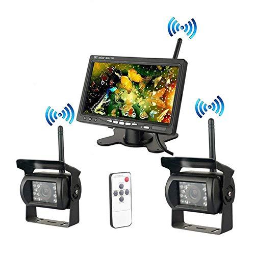 Meteor fire Kabelloses Rückfahrkamera-Kit, 7-Zoll-TFT-LCD-Widescreen-Wireless-Display + 2 wasserdichte Infrarot-Nachtsicht-Rückfahrkameras für Bus-LKW-Wohnwagen
