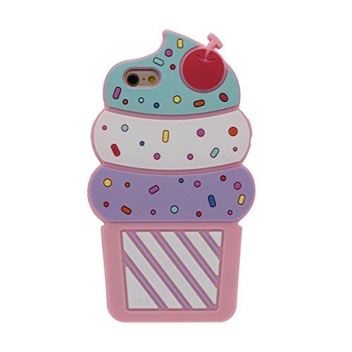 """Bunt Eiscreme Aussehen Schutzhülle iPhone 6 Plus Hülle Mädchen Stil, iPhone 6S Plus 5.5"""" Case, Sehr weich Silikon Case - Pink Pink"""