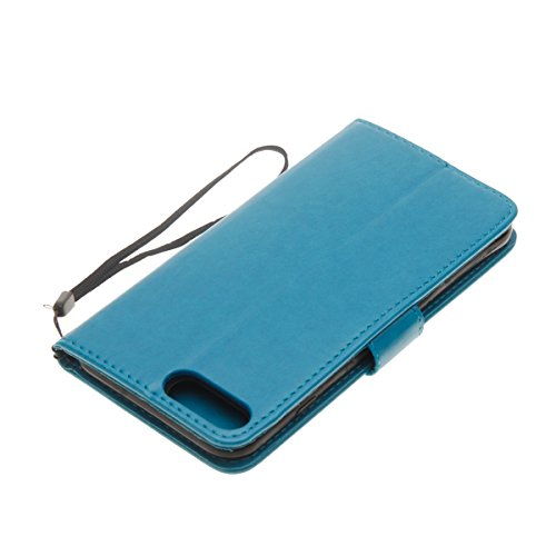 Cover per iPhone 7 Plus/iPhone 8 Plus (5.5), EUWLY Portafoglio Custodia in Pelle Protettiva Cover Case Per iPhone 7 Plus/iPhone 8 Plus (5.5) Premium Retro Morbido PU Leather Wallet Cover Supporto St Blu