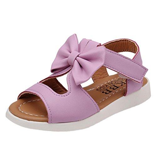 Elecenty sandali estivi ragazza eleganti scarpe fiocco trekking aperte partito nozze spiaggia bambina principessa (size:28, porpora)